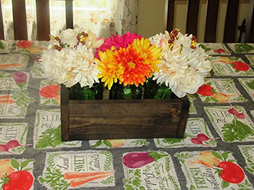Stained(Dark Walnut) Wood Planter Box  Mason Jar Centerpiece, Small wood box, Candle Holder, Wedding Centerpiece  12 inches long