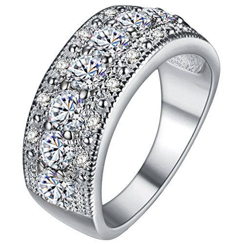 fendina womens silver plated pretty cz crystal promise engagement wedding bands bridal eternity anniversary rings for her valentins day gifts - Diamonique Wedding Rings