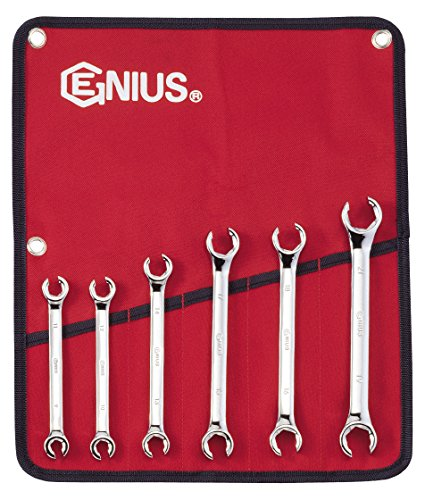 Genius Tools 6 Piece Metric Flare Nut Wrench Set - Flare Wrench Nut 6 Piece