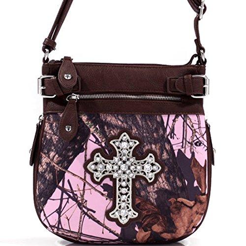 Mossy Oak Camo Rhinestone Western Cross Messenger Bag with Faux Buffalo Trim
