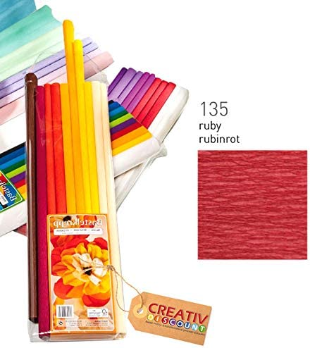 CREATIV DISCOUNT/® NEU Premium Feinkrepppapier 10er Pack Rubinrot