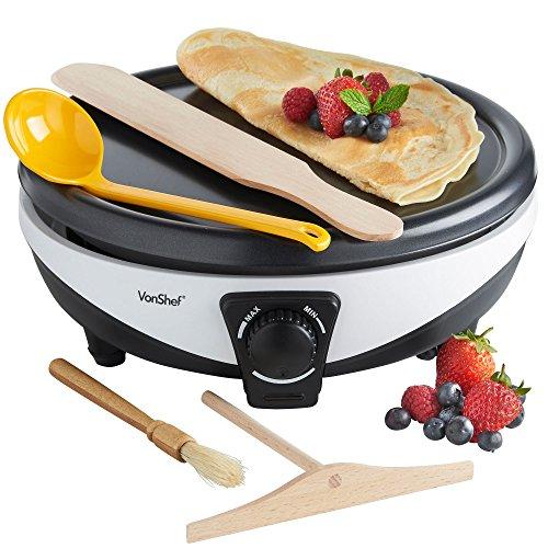 VonShef Pancake Maker – Crepe Maker with Batter Spreader, Oil Bush,...