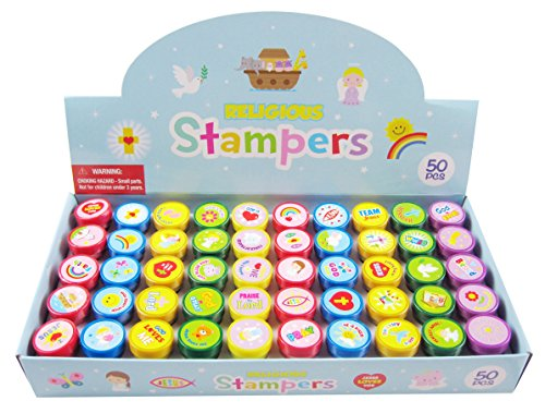 TINYMILLS 50 Pcs Religious Assorted Stampers for Kids -