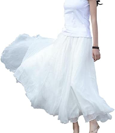 Sannysis Falda Larga Mujer Cintura Larga Camiseta Maxi Faldas ...