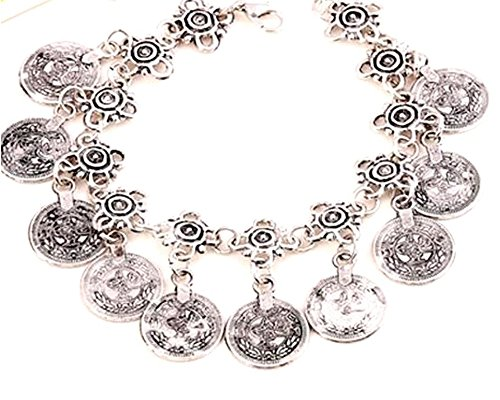 Vintage Tassel Coin Set Bracelet OR Anklet Flower Antique Silver Woman's Chain (Global Coin Set)