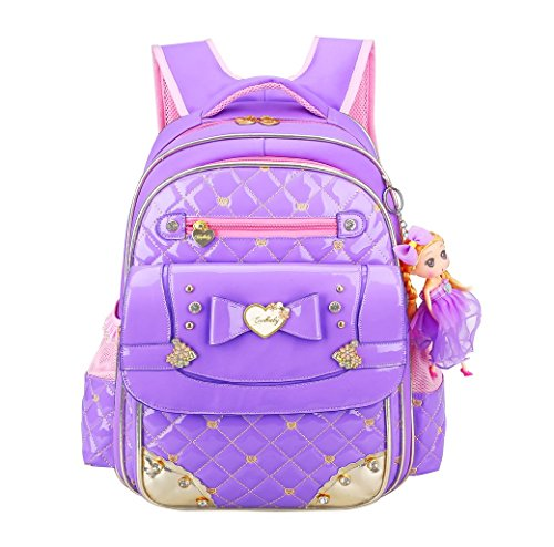 EURO SKY Children School Backpack Bags for Girls Students PU Leather Z-Purple S