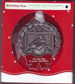 product image for Pewter Manger & Wreath Christmas Ornament or Wall Decoration