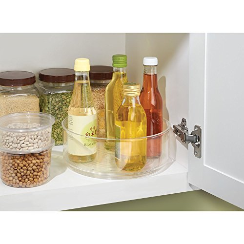 mDesign Turntable Lazy Susan Organizer Bins for Kitchen Pantry, Cabinet, Countertops - Pack of 2, 9