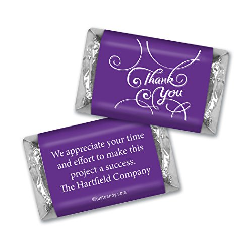 Personalized Miniature Candy Bars - Thank You Personalized Hershey's Miniatures Wrappers - Scroll (100 Wrappers) Purple