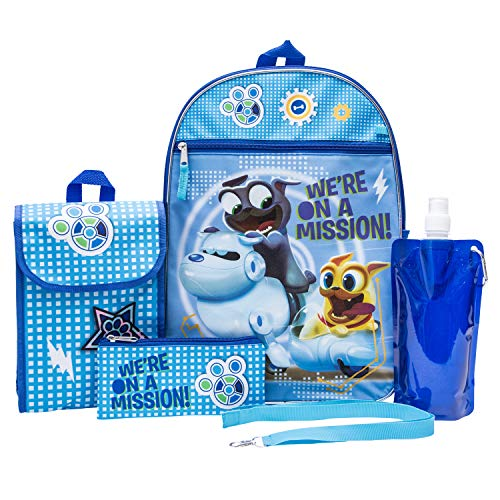 (Puppy Dog Pals Backpack Combo Set - Disney Puppy Dog Pals Boys' 6 Piece Backpack Set - Bingo and Rolly Backpack & Lunch Kit (Light Blue))