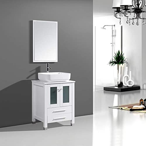 DodreHome 24 Modern Bathroom Vanity MDF Cabinet Combo with Ceramic Vessel Sink with Faucet and Pop Up Drain Set,Mirror Included,White Color