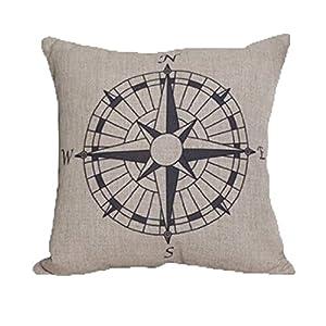 LandFox Bussola Cuscino di Tiro della Vita del Divano del Cuscino per i Sedili e Le Sedie della Stanza Miscela di Lino 2 spesavip