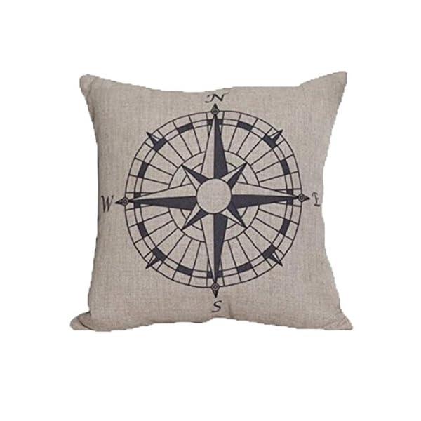LandFox Bussola Cuscino di Tiro della Vita del Divano del Cuscino per i Sedili e Le Sedie della Stanza Miscela di Lino 1 spesavip
