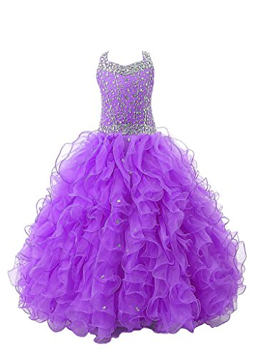 Baoji Girls' Crystal Body Straps Gown Ruffles Pageant Dresses 8 US Purple