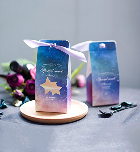 Hilarocky 50Pcs Cut Star Pattern Candy Boxes Wedding Christmas Chocolate Gift Bonbonniere Party Birthday Decor Favors (Christmas Star Pattern)