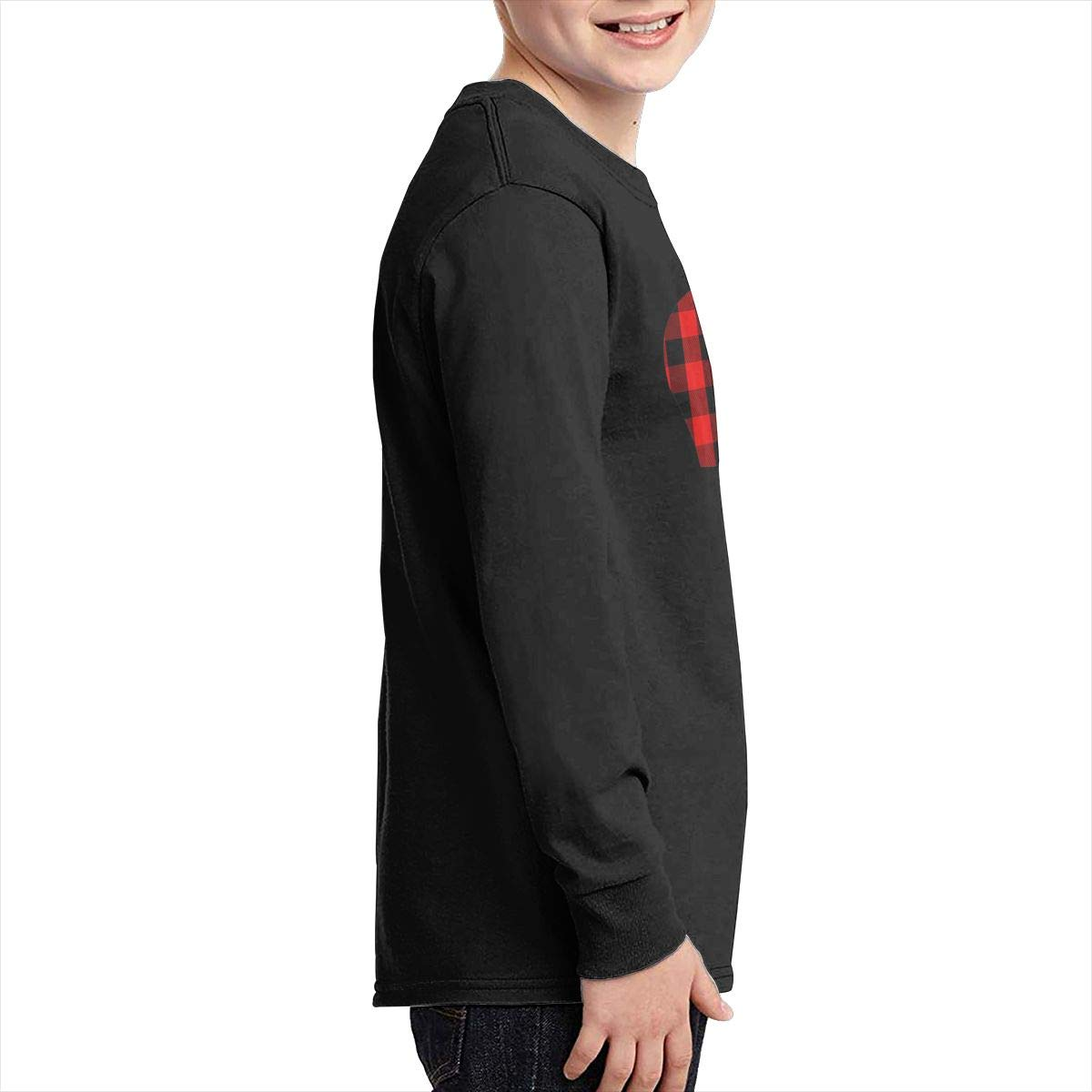 Red Buffalo Plaid Bear Youth Long Sleeve Moisture Wicking Athletic T Shirts Casual Tee Graphic Tops for Teen Boys Girls