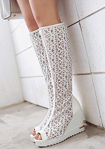 Aisun Women's Sexy Breathable Mesh Platform Peep Toe Knee High Sandals Wedge High Heels Shoes White TWurp3qAF