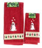 St. Nicholas Square Through the Woods Comfy Cozy Snowman Hand and Fingertip Towel Set