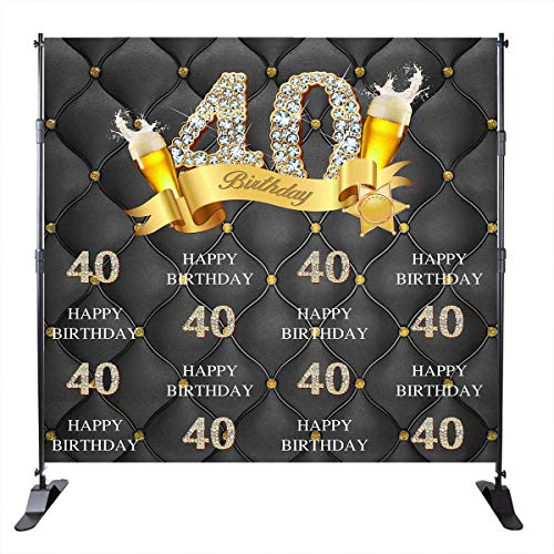 Mehofoto 40th Birthday Background Wine Glass Decorate Golden Diamond 40 Years Old Repeating Background 8X8ft Vinyl Adult Custom Photo Props Photo Booth Banner Decoration Studio Props ()
