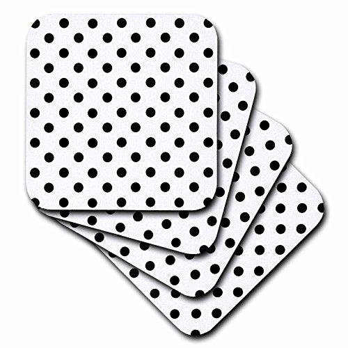 - 3dRose Janna Salak Designs White and Black Polka Dot Print Coaster, Soft, Set of 4