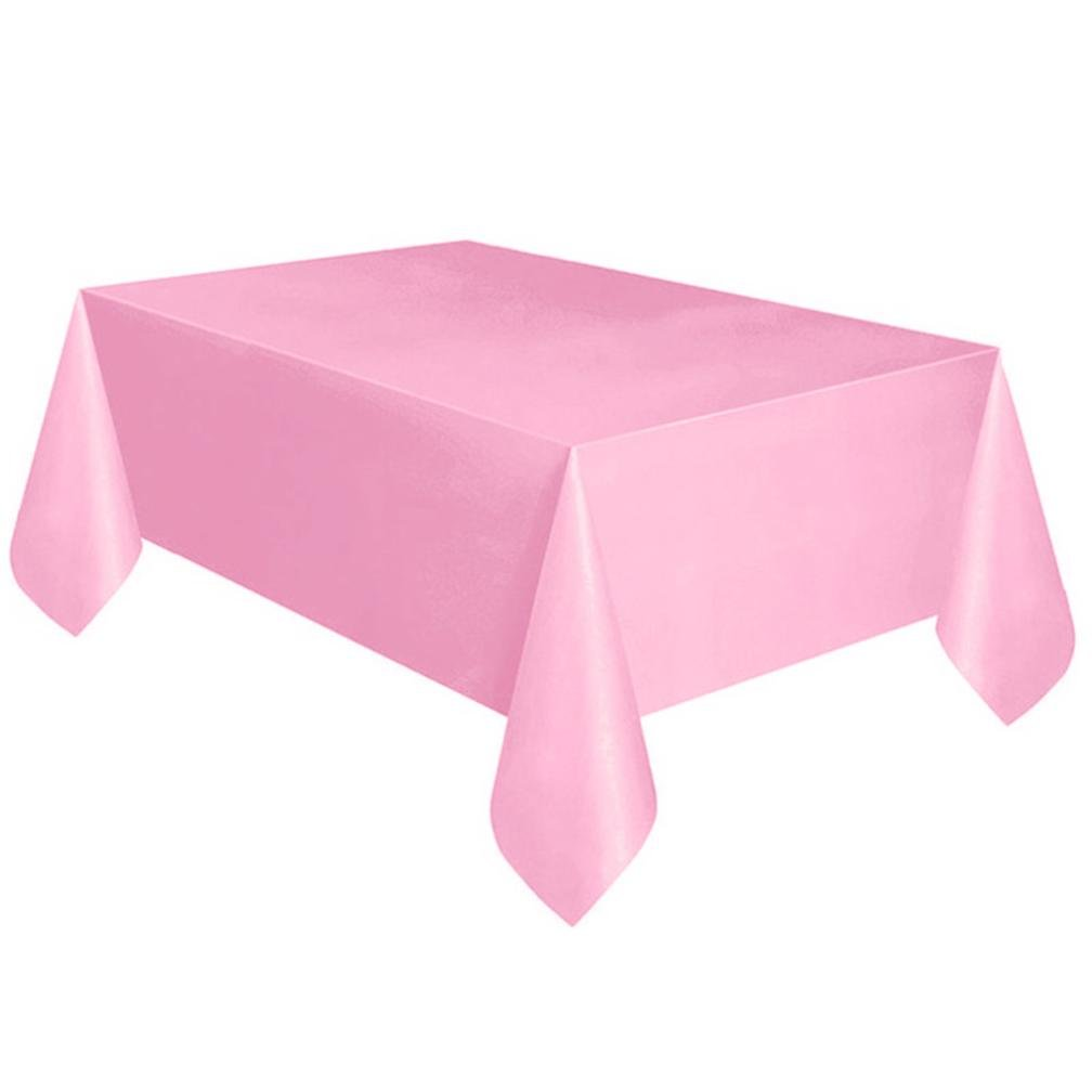 Coohole Disposable Plastic Tablecloth,6ft x 4.5ft Rectangle Table Cover (Pink)