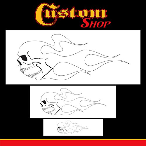 Custom Shop Airbrush Skull Fire Flame Stencil Set (Skull Design #2 in 3 Scale Sizes) - Laser Cut Reusable Templates - Auto, Motorcycle Graphic Art Auto Airbrush Stencils