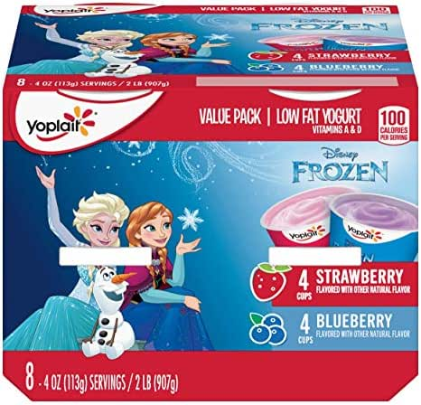 Yoplait Kid Yogurt, Disney Frozen Variety Pack of Strawberry and Blueberry Yogurt, Value Pack, 8 Cups, 4.0 oz Each