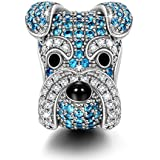 NINAQUEEN Schnauzer Charms fit Pandöra 925 Sterling Silver Puppy Dog Animal Beads Charm for Pandöra Bracelets Anniversary Birthday Gifts for Woman
