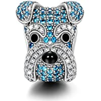 NINAQUEEN Charms ♥Puppy Charms for Animals Lover as Schnauzer Knight- 925 Sterling Silver Animal Bead Charms - Happy Family Series