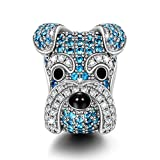 "Image of NinaQueen ""Schnauzer Knight"" 925 Sterling Silver Blue Cubic-Zirconia [Happy Family] Charms Cute Animal Charms, Ideal Gift for Women and Girls, gifts for mom"