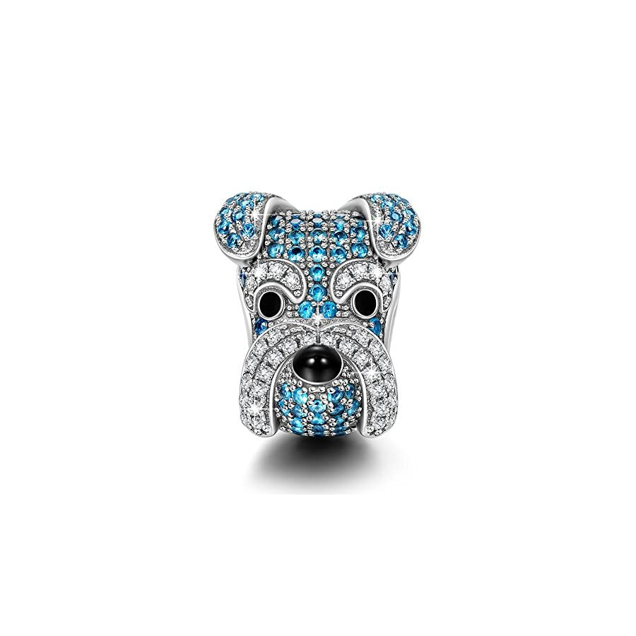 NINAQUEEN Charms ♥Puppy Charms for Animals Lover as Christmas Charm Gifts♥ Schnauzer Knight 925 Sterling Silver Animal Bead Charms Happy Family Series