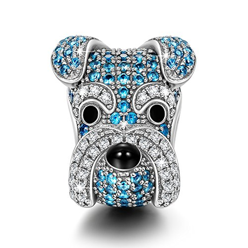 NINAQUEEN Charms ♥Puppy Charms for Animals Lover♥ Schnauzer Knight 925 Sterling Silver Animal Bead Charms Happy Family Series