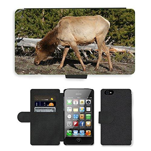 Just Phone Cases PU Leather Flip Custodia Protettiva Case Cover per // M00127816 Elk animal Mammifère Yellowstone // Apple iPhone 4 4S 4G