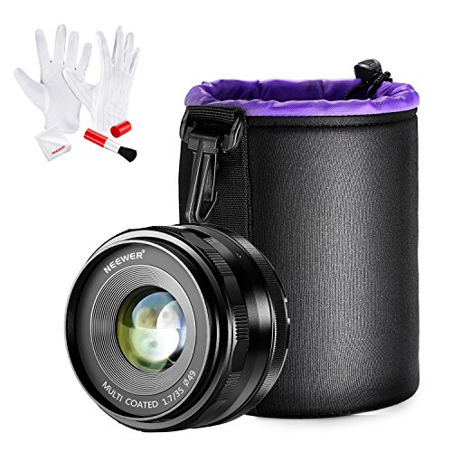 Neewer 35mm f/1.7 Manual Focus Prime Fixed Lens with Lens Pouch and Cleaning Kit for SONY E-Mount Digital Cameras, Such as NEX3, 3N, 5, 5T, 5R, 6, 7, A5000, A5100, A6000, A6100 and A6300 (NW-E-35-1.7) by Neewer
