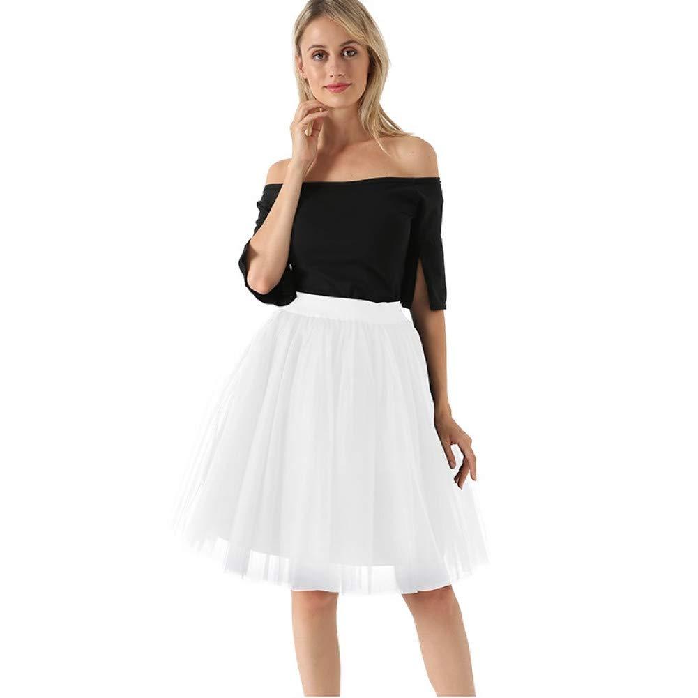 White WHFDBZQ Mesh Pleated 7 Layers Dance Tulle Skirt Fashion Tutu Skirts Womens Petticoat Elastic Belt Lolita