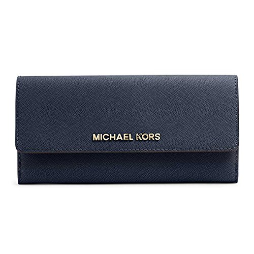 Michael Michael Kors Womens Jet Set Travel Large Leather Wallet, Blue by Michael Kors