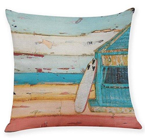 1 Piece 18 x 18 White Blue Beach Theme Throw Pillow Cover, Brown Black Surf Board Pattern Cushion Case California Surfing Themed Teal Red Coastal Nautical Surfs Up Drift Wood Design Lake House, Linen