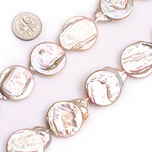 GEM-inside 22x28mm Big Large Pink Top Drilled Coin Pearls Beads for Jewelry Making Loose Beads Strand 15