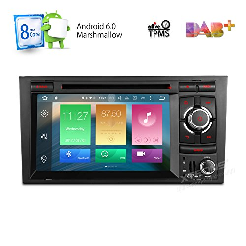 XTRONS 7 Inch Android 6.0 Octa-Core HD Digital Capacitive Touch Screen Car Stereo Radio DVD Player GPS Screen Mirroring Function OBD2 Tire Pressure Monitoring for Audi A4 S4 RS4 by XTRONS