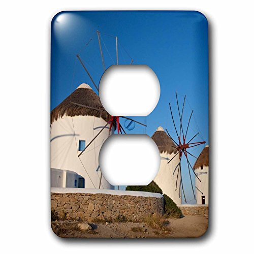 3dRose Danita Delimont - Windmills - Greece, Mykonos. Windmills along the water - Light Switch Covers - 2 plug outlet cover (lsp_277436_6) (Mykonos Water)