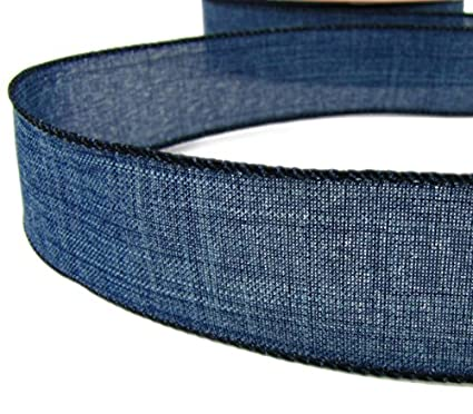 "1 1/2""Wide Blue Denim Jeans Country Wired Ribbon DIY Hairbow Craft Supplies Wedding Christams Decorative 5 Yards"