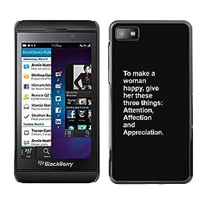 Feliz Atención Mujer Inspiring Amor - Metal de aluminio y de plástico duro Caja del teléfono - Negro - Blackberry Z10