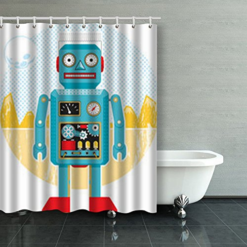 New HomeCOO Custom Shower Curtains Vintage Robot Flat On Textures Toy Technology Hipster Galaxy Waterproof Mildew