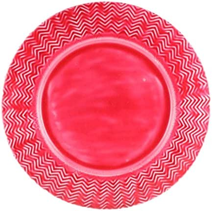 Better & Best Bajo Plato de Hierro esmaltado, de 33 cm de diámetro, con Relieve de zig Zag, Color Rojo, Fundido