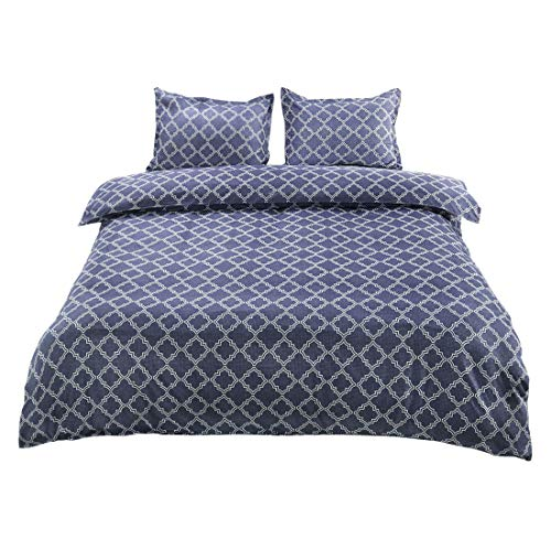 (uxcell Bedding Geometric Printed Duvet Cover Set (King, Yale Blue) - Double Brushed Velvety Microfiber - Comfy, Breathable and Soft - Wrinkle, Fade & Stain Resistant)