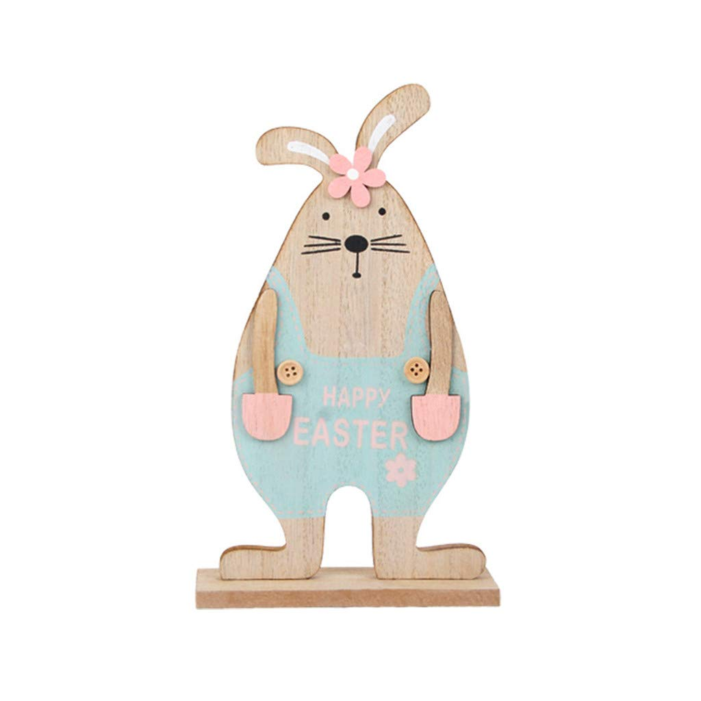 HHmei Easter Day Bunny Exquisite Premium Wooden Pendant Hanging Decoration Wooden Rabbit Ornaments Bunny (67C)