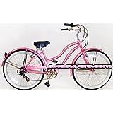 """Micargi Pantera 7-speed 26"""" for Women (Pink), Beach Cruiser Bike Schwinn Nirve Firmstrong Style"""
