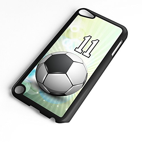 iPod Touch Case Fits 6th Generation or 5th Generation Soccer Ball #5800 Choose Any Player Jersey Number 11 in Black Plastic Customizable by TYD Designs