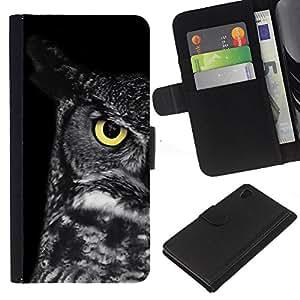 Planetar® Modelo colorido cuero carpeta tirón caso cubierta piel Holster Funda protección Sony Xperia Z4v / Sony Xperia Z4 / E6508 ( Owl Teacher School Smart Eye Black )