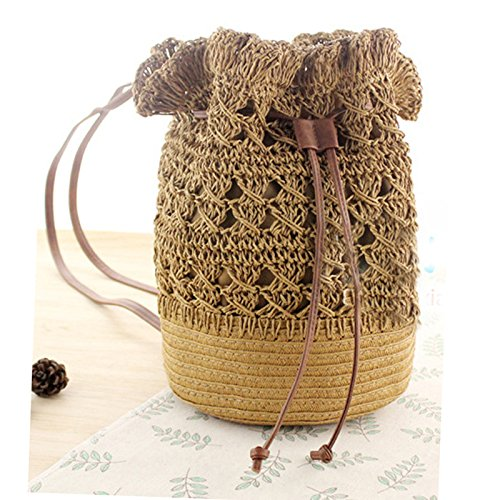 Beaded Large Handle Hollow Small Straw Hobo Bag Straw Bucket Woven Bamboo Bag Drawstring Hasp Pompom Bag Shoulder Ball Abuyall H Out qZEnPx11